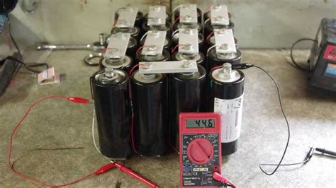 project with capacitor discharging a bank of 20 supercapacitors