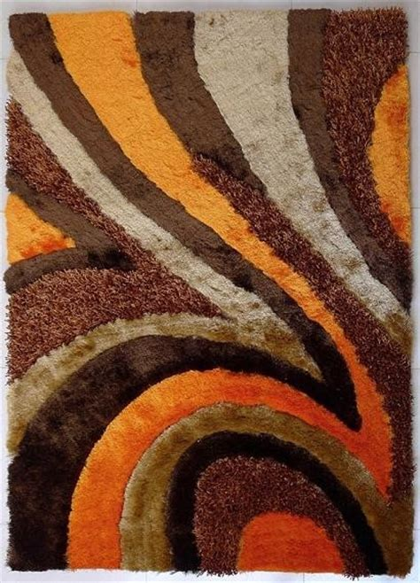 Orange And Brown Area Rug 5 X7 Tufted Brown And Orange Living Room Shaggy Area Rug Contemporary Area Rugs By