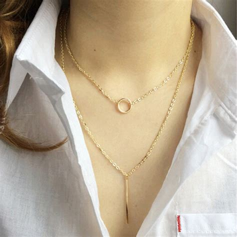Kalung Waterdrop Shape Decorated Layer Design 3 personality gold color circle pendant decorated