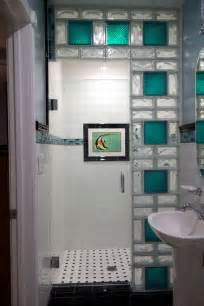 Glass block shower wall using 8 x 8 colored glass blocks and 4 x 8
