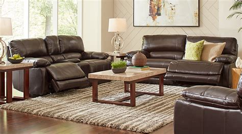 living room recliner cindy crawford home auburn hills brown leather 3 pc