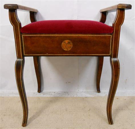 edwardian inlaid mahogany piano stool 236106