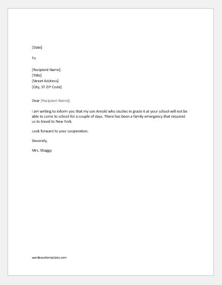 Excuse Letter For Being Absent In School