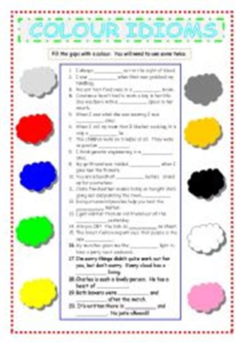 color idioms colour idioms worksheet by janine
