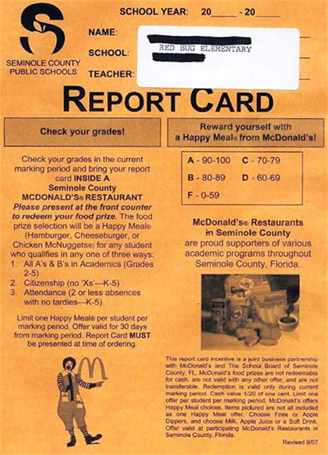 Where Can I Get A Mcdonalds Gift Card - mcdonald s stoops to new low with report card advertising