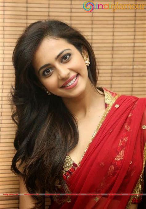 hollywood actress hot photos in saree south indian sexy actress rakul preet singh hot red saree