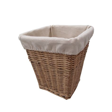 wastepaper basket natural lined square wicker waste paper bin from the