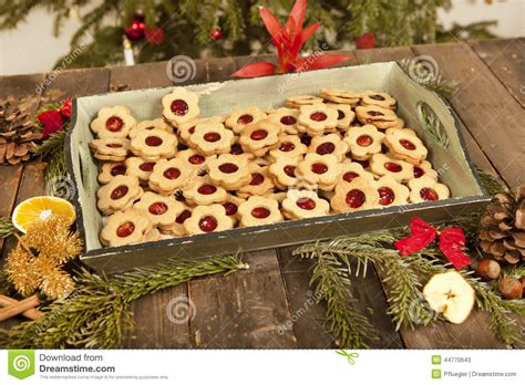 biscuits and christmas decoration stock photo image