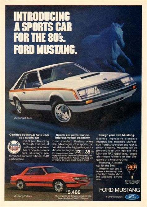 car ads in magazines introducing a sports car for the 80s ford mustang 1980