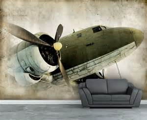 Aviation Wall Murals Wall Mural Retro Propeller Airplane Wall Paper Wall Decal