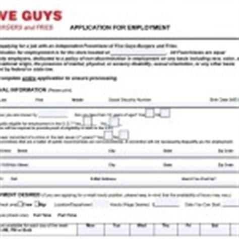printable job application for five guys download five guys burgers and fries job application