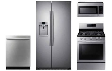 samsung stainless steel kitchen appliance package with gas range abt