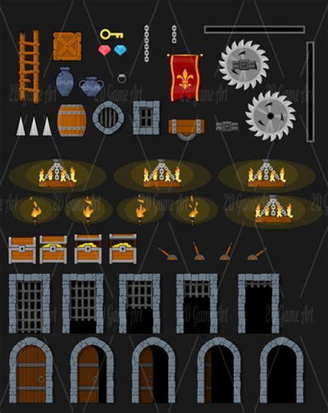 medieval dungeon platformer game tileset game art