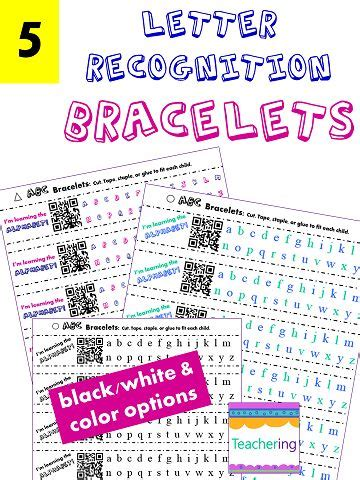 printable alphabet bracelets kindergarten homework homework and learning letters on