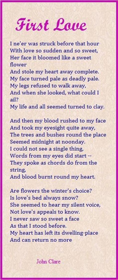 themes in first love by john clare first love john clare other poetry pinterest