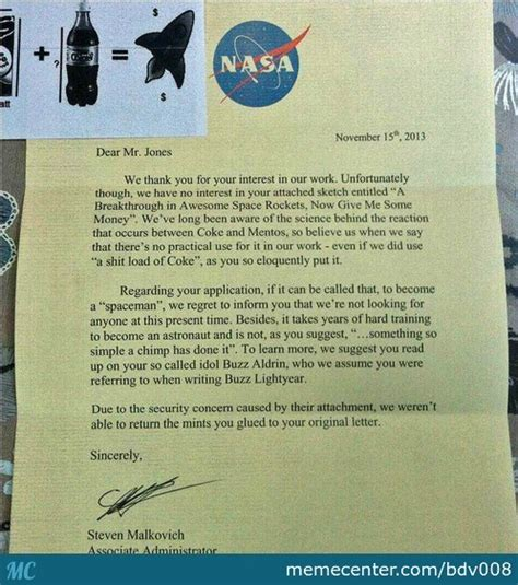 Rejection Letter Meme nasa rejection letter by recyclebin meme center