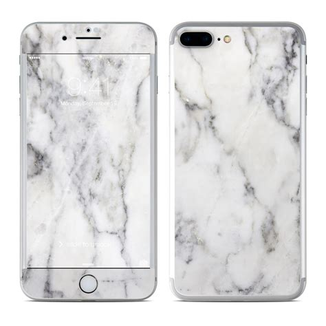 apple iphone 8 plus skin white marble by marble collection decalgirl