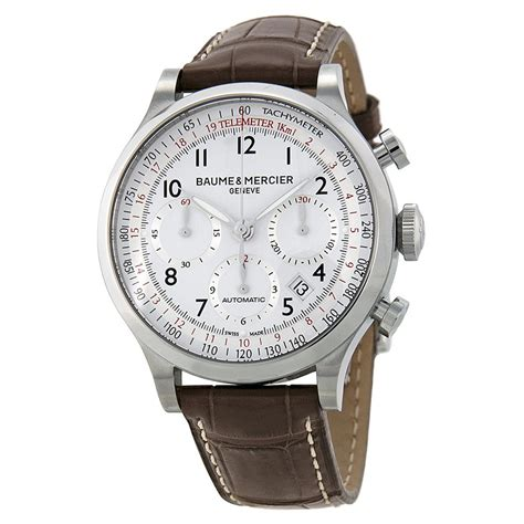 Chronograph Silver White baume and mercier capeland chronograph white and silver brown leather s 10041