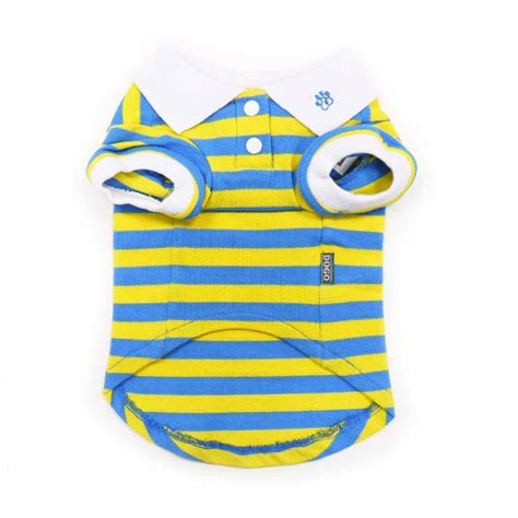 Polo Yellow Stripe Blue puppypawer stripe polo by dogo blue and yellow baxterboo