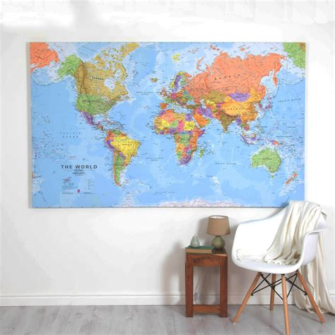 world map canvas home decor bedroom living room
