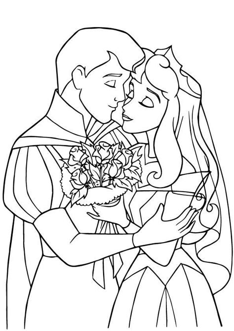 coloring pages princess and prince sleeping beauty prince and princess coloring pages
