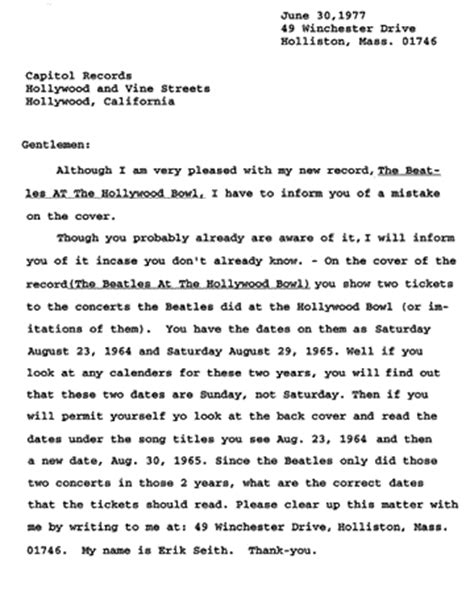 Explanation Letter Bowp Beatles At The Bowl
