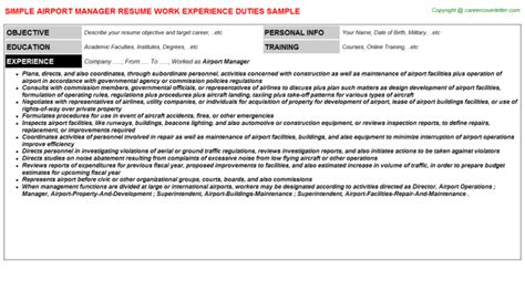 Resume For Airport Jobs by Airport Manager Resume Sample Job101076