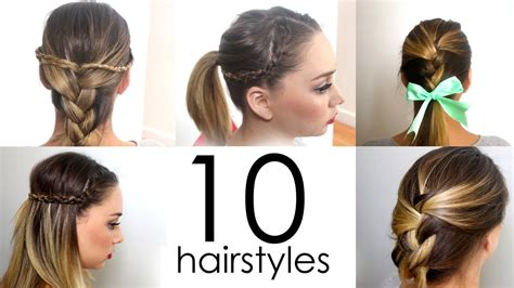 daily hairstyles at home 10 quick easy everyday hairstyles in 5 minutes youtube