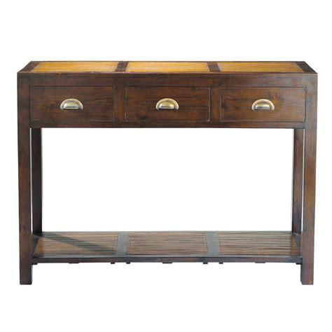 il console table console en teck massif et bambou l 110 cm bamboo