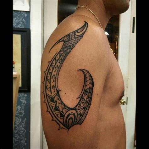 hawaiian tribal fish hook tattoo matau nui a freehand poly fish hook of black