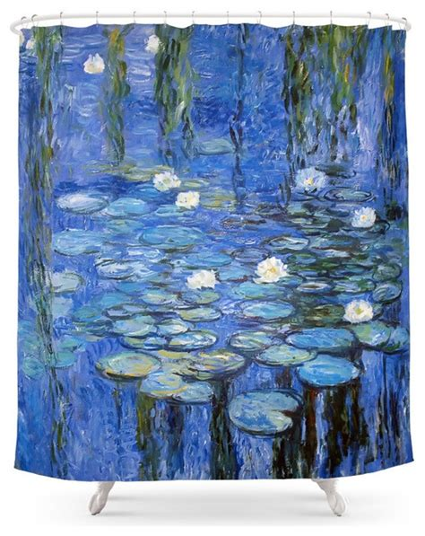 contemporary shower curtains society6 water lilies a la monet shower curtain