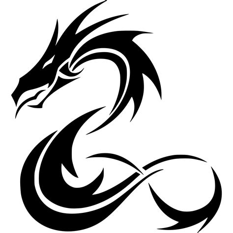 clipart tribal coiled dragon