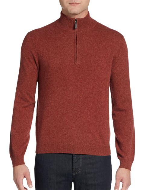Sweater Black Orange Lis saks fifth avenue black label half zip sweater in