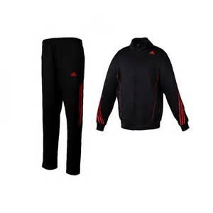 Adidas badminton zipper tracksuit black red stripes