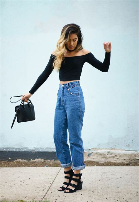jean outfits on pinterest mom jeans and off the shoulder tops with little black