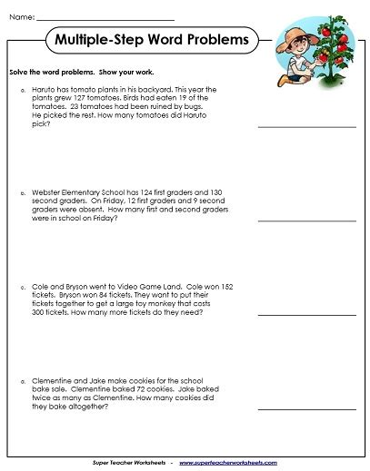 Second Grade Word Problems Worksheets