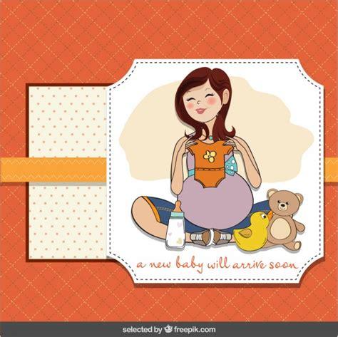 imagenes de feliz cumpleaños amiga embarazada baby shower card with happy pregnant vector free download