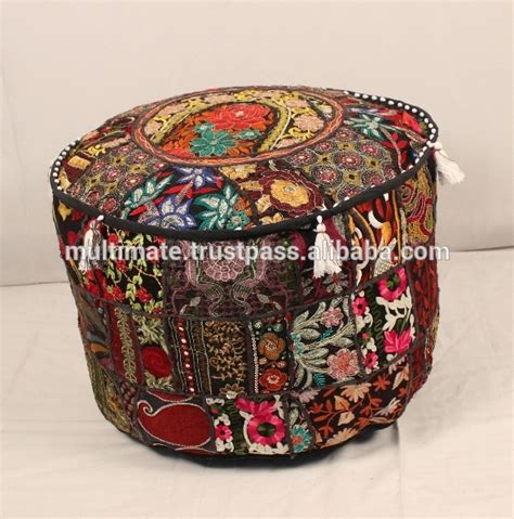 Patchwork Bean Bag - antique bohemian pouf patchwork sari bean bag indian