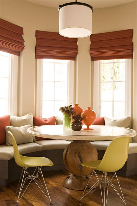 kitchen nook table Dining Room Transitional with banquette breakfast nook centerpiece