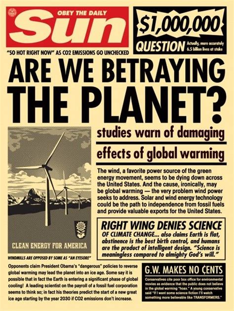 designing news changing the 389955468x quot are we betraying the planet quot sun paper print global warming design by shepard fairey