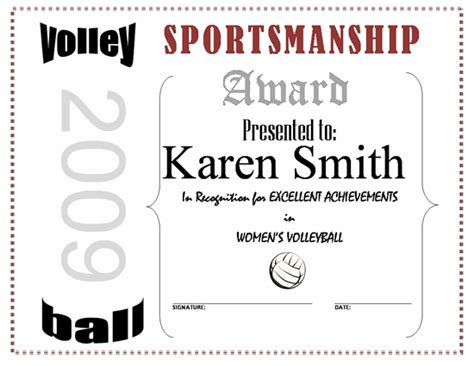 free printable volleyball award certificate template hot