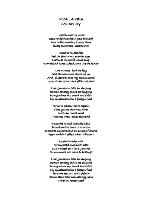 coldplay rule the world lyrics viva la vida coldplay