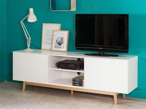Meuble Tv 2 Portes 2 Niches En Bois Laqu 233 Blanc Pieds