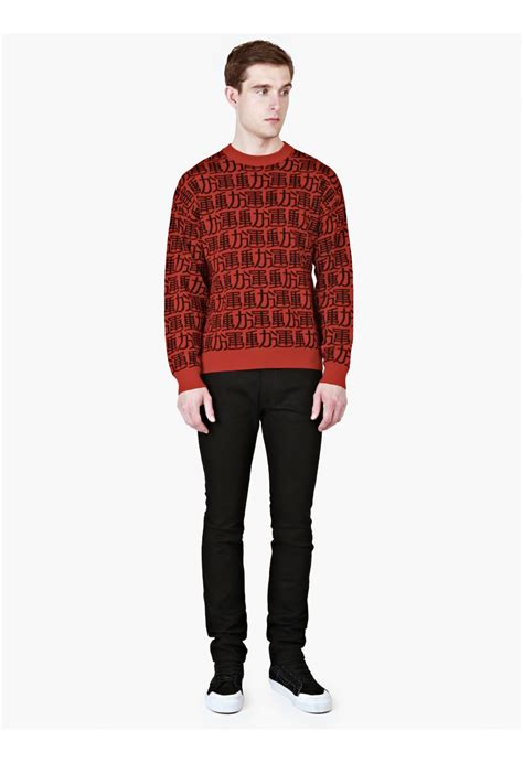 graphic knit sweaters gosha rubchinskiy graphic knit sweater in for