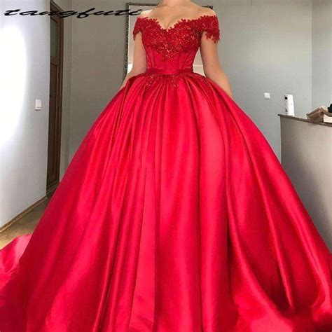 sexy  shoulder red ball gown quinceanera dresses