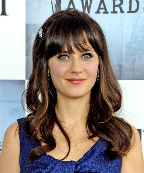 how to cut bangs like zoe zooey deschanel long wavy casual hairstyle with blunt cut