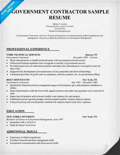 Resume Templates For General Contractor Best Practices For Contractor Resumes