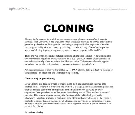 human cloning research paper essay on cloning