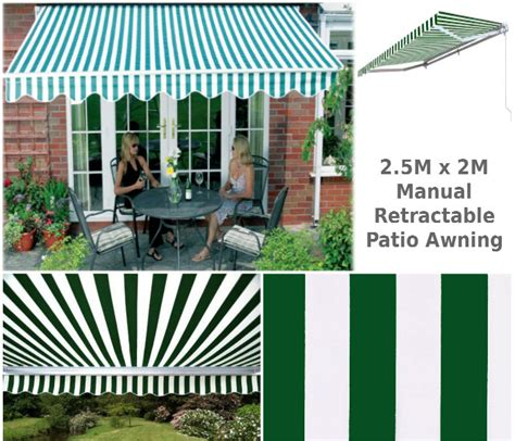 2m Awning by 2 5m X 2m Stripe Patio Awning 2 5m Patio Awnings Retractable Awnings Awnings Ireland 2 5m X
