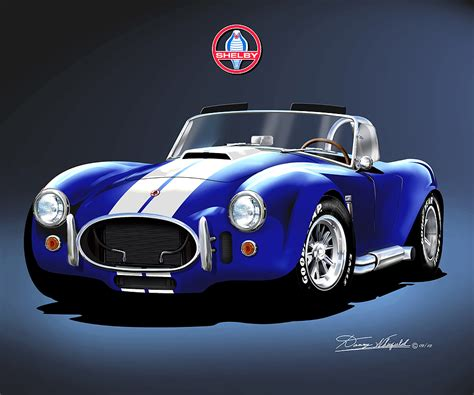 fine black brutish in shelby that does weave and brades shelby ac cobra 427 fine art print poster by artist danny